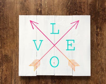 Love arrow hand painted wood sign