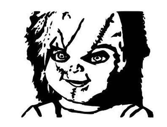 Chucky Clipart Black And White: Chucky Childs Play Horror Vinyl Car Decal Bumper Window
