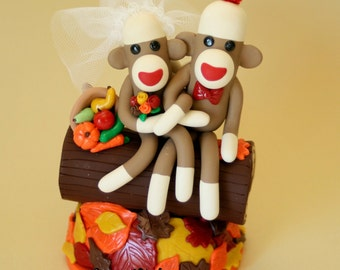 Autumn Leaves Bride and Groom Sock Monkey Wedding Cake Topper on a Tree Log
