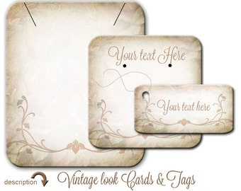 Custom Earring Card -  Jewelry Display -   Vintage Look - Cottage Chic Design -  Necklace Cards -  Tags - Earring Card - Tags - Cards