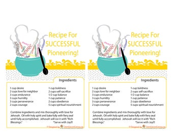 JW Pioneer School gifts - JW pioneer school - JW Pioneer gifts - Recipe for successful Pioneering - Flyer Downloadable - Printable flyer