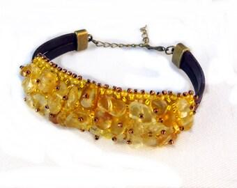 Solar plexus chakra bracelet Manipura, citrine bracelet, bead embroidery bracelet, casual bracelet, healing bracelet