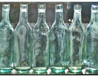 Antique Bottle- c1892 Sea Foam Aquamarine Beverage Bottles