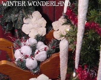 Primitive Christmas Snowball, Snowflake, Icicle Instant Digital Download E-Pattern ET