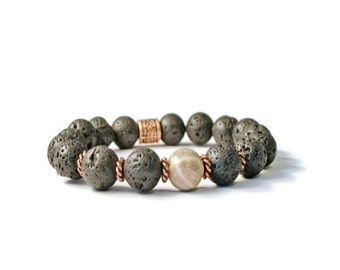 Essential Oil Aromatherapy Diffuser Stretch Bracelet, Natural Lava Stones & Silver Leaf Jasper
