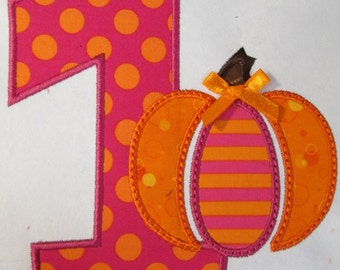 Birthday Iron On or Sew On Whimsical Pumpkin Birthday
