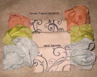 Seam Binding Hand Dyed - Distress Antiqued Vintage Inspired - Crinkled - Paradis Tropical Paris Market (HDSB005) ECS