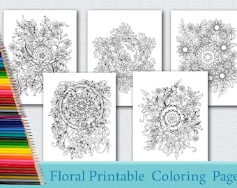 Floral Coloring Pages for Adults 5 Printable Coloring Pages Instant Download PDF Grown-up Coloring Pages  Printable adult coloring page