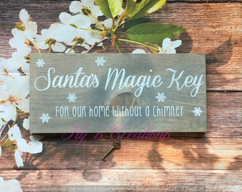 Santa's Magic Key with sign; for homes without a chimney; Christmas sign; Santa Claus; no chimney sign; Christmas decor