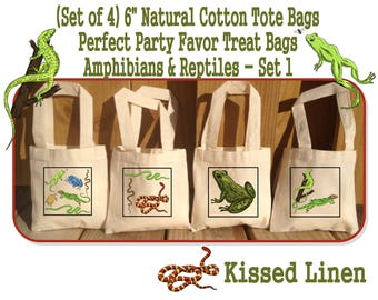 Amphibians Reptiles Nature Ourdoor Explore Birthday Party Treat Favor Gift Bags Mini Cotton Totes Frogs Snakes Lizards Turtles