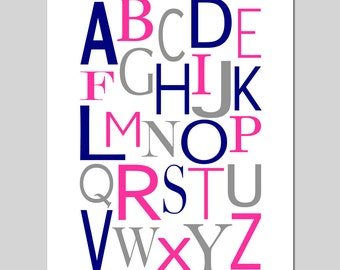 Modern Alphabet - 11x14 Print - Kids Wall Art for Nursery, Bedroom, Playroom - CHOOSE YOUR COLORS - Shown in Hot Pink, Navy Blue, Gray