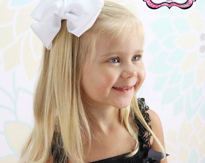 6 in. White Hair Bow - XL Hair Bow - Big Hair Bows - Girl Hair Bows