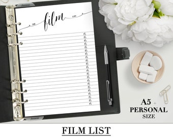 Printable FILM LIST for your Personal, A5, Happy Planner and Letter size planner_ Favorite Films TV planner Inserts__Black & White style