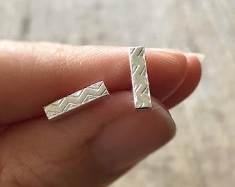 Aztec Earrings, Chevron Earrings, Bar Earrings, Sterling Silver Post, Push Back, Sterling Silver Stud, Bohemian Earrings, Bohemian Jewelry