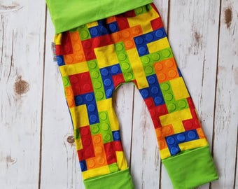 Maxaloones ~ Building Blocks Lime Green Grow With Me Pants ~ Toddler Trousers