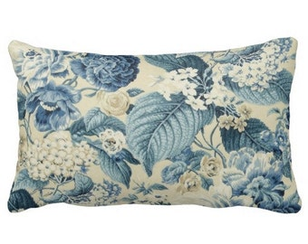 outdoor pillows, blue outdoor pillows, floral outdoor pillows, outdoor cushion cover, outdoor accent pillow, pool pillows, blue throw pillow