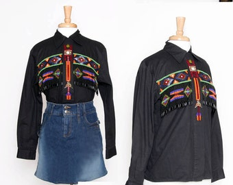CLOSING SALE vintage 80s 90s black beaded western shirt / lew magram