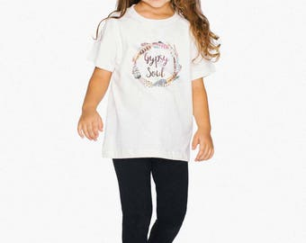 GYSPY SOUL Kids Tee, Jersey Cotton, Girls 2-6 Years Old, Boho Feather Wreath Stevie Nicks T-shirt, American Apparel Tee USA