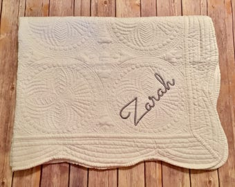 WHITE personalized baby quilt, Cotton blanket, Monogrammed personalized name year, birth announcement, white nursery quilt gender neutral