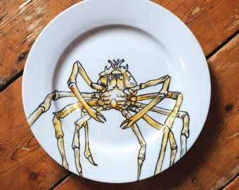 Giant Spider Crab hand painted plate unique gift