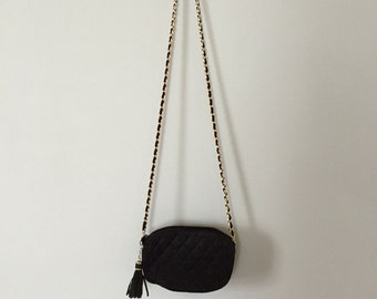 80s suede quilted purse | tassel closure small bag