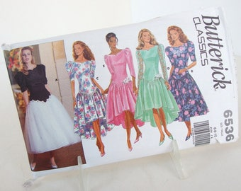 Vintage High Low Bridesmaid Dress, Sewing Pattern Butterick 6536, Size 6, 8, 10, Bust 30.5, 31.5, 32.5 Inches