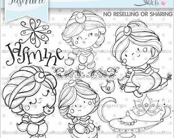 Jasmine Stamps, Princess Jasmine Stamps, Fairy Tale Stamp, Digital Stamp, COMMERCIAL USE, Line Art, Digistamp, Princess Stamp, Coloring Page