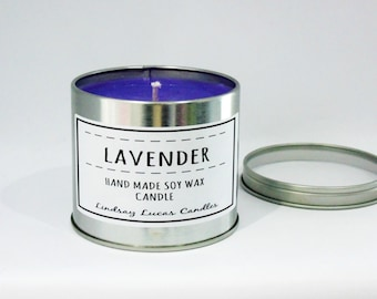 Lavender Candle, Lavender Scented Candle, Scented Candle, Tin Candle, Lavender Scent, Large Candle, Strong Candle, Jar Candle
