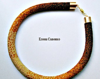 Seed Bead Crochet Necklace/Beaded Crochet Necklace, Beaded Crochet Rope, Spiral Beaded Necklace, Choker,