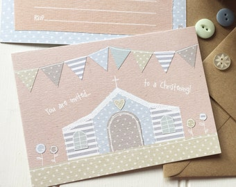 10 x Boy Christening invitations. DIY