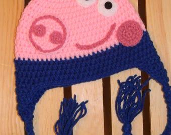 Crochet Toddler george  pig hat