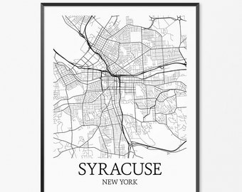 Syracuse Map Art Print, Syracuse Poster Map of Syracuse Decor, Syracuse City Map Art, Syracuse Gift, Syracuse New York Art Poster