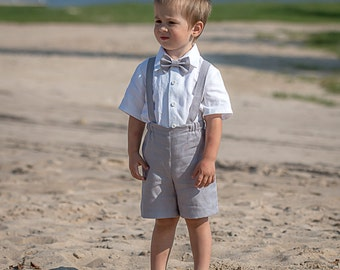 Ring bearer outfit Baby boy linen suit Baby boy light gray suspenders suit Boy baptism suit Shorts Suspenders Wedding party boy formal suit