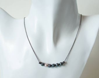 Jewelry Necklace Pearls Black Rosé