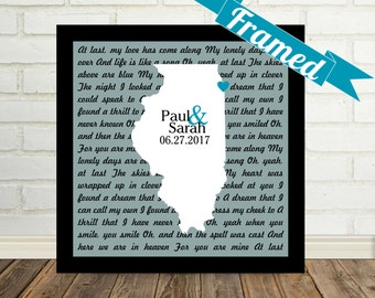 Unique Wedding Gift Personalized Song Lyrics Wall Art Love Map FRAMED Any Location and Song Available Special Wedding Gift Personalized