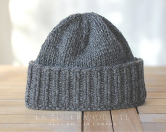 Fisherman beanie, wool beanie, knitted hat, knit hats // The Classic Cuffed Beanie in Charcoal