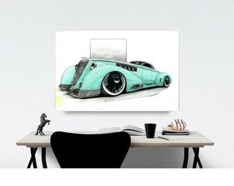 Car collector gift, hotrod car collector gift, gift fathers day car collector, hotrod art, dusenberg concept art, car art print, automotive