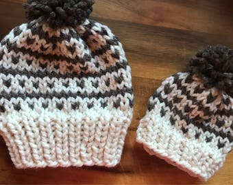 Mommy and Me Knit hat set / adult hat / child beanie / toddler beanie