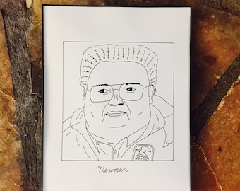 """Subpar Newman from Seinfeld Drawing Print/Hand-Drawn/TV/Movie/8.5"""" x 11""""/Thick Card Stock Paper!"""