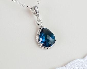 Blue Sapphire Necklace, Blue Sapphire Bridesmaids Necklace, Blue Sapphire Teardrop Glass and Cubic Zirconia Necklace