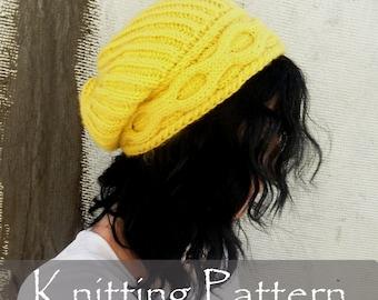 KNITTING PATTERN - Inverted Cable Hat Knitting Pattern Women Slouchy Braids Knit Pattern Winter Cap Beanie (Child, Teen, Adult) PDF - P0063