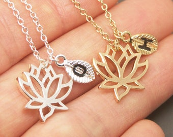 Flower Lotus Necklace, Lotus Necklace, Personalized Initial Necklace, Flower Necklace, Lotus Jewelry, Flower Jewelry,Blossom Necklace NB725