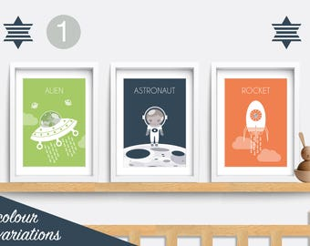 Space nursery print. Set of 3 Nursery prints. Baby nursery decor. Nursery wall art. Space themed nursery. Baby nursery print. Baby boy gift.
