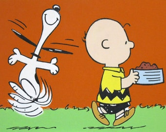 charlie brown and snoopy dancing peanuts comic