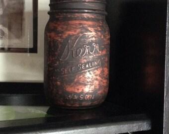 Rustic mason jar, antique mason jar, copper jar, mason jar, rustic