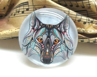 2 cabochons 14 mm glass Tribal Wolf - 14 mm