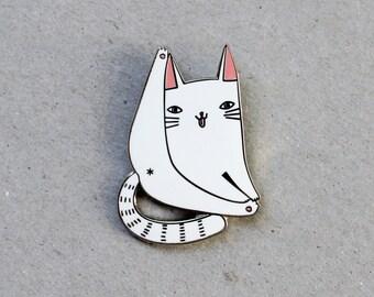 Cat forever enamel pin badge - lapel metal white cat pin