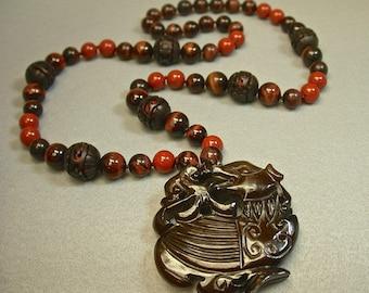 Vintage Chinese Cinnabar Knotted Brown Bead Necklace,Vintage Chinese Carved Serpentine Kylin Pendant,Vintage Red Tigereye,Vintage Red Jasper