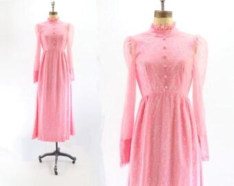 70s Maxi Dress Prairie Dress HIgh Collar Dress Summer Maxi Chiffon Maxi Victorian Style Prairie Maxi Dress xs