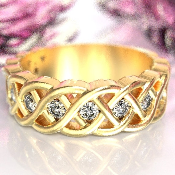 Celtic Wedding Ring with Moissanite Stones in 4 Cord Braided Knot Design in 10K 14K 18K Gold or Palladium, Made in Your Size CR-1008